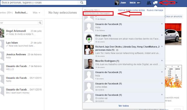 Mensajes ocultos Facebook