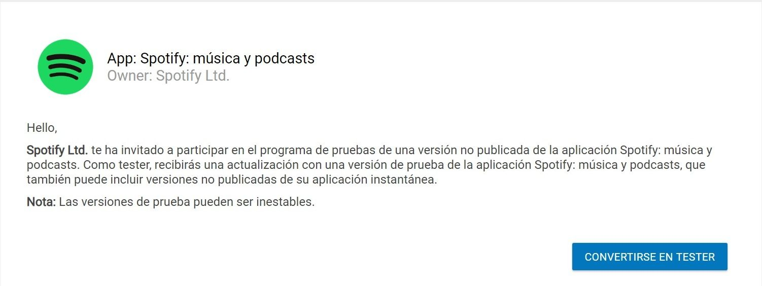 programa Spotify Android Beta